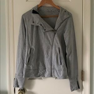 Asymmetrical Gray Zip-up Jacket